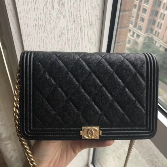 c8b56a66 Caviar calfskin Quilted Boy Wallet On Chain WOC Boutique
